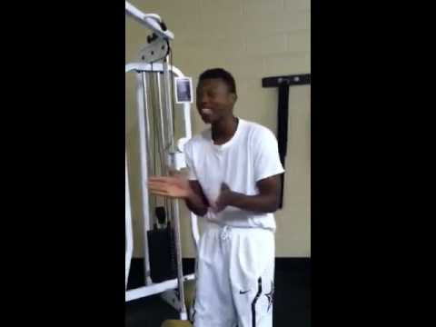 Adrian Scott putting in work in weight training
