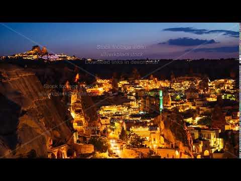 Timelapse view of Goreme village in Cappadocia at night in Turkey