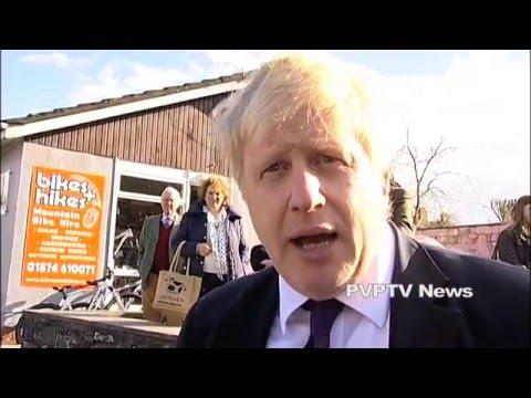 Boris Johnson Campaigns in Brecon Mid-Wales April 2016