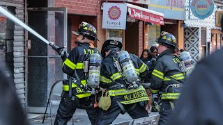 [ Manhattan 10-75 Box 1045 ] Firefighters Battle All-Hands Fire in 2nd Avenue Deli - Upper East Side