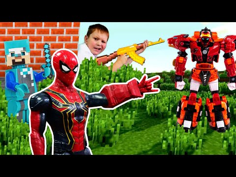 Видео для детей- Стив Майнкрафт и супергерои! - Робот Металлион в онлайн играх битвах.