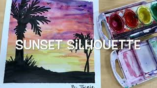 Sunset Silhouette with Watercolor Tutorial