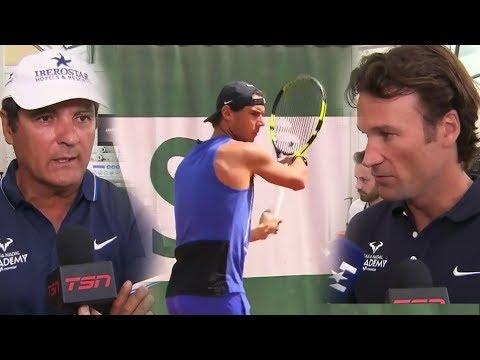Carlos Moya and Toni Nadal Interview at RG, 30 May 2017 (+Rafa's practice)