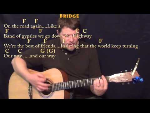 On the Road Again (Willie Nelson) Strum Guitar Cover Lesson in C with Chords/Lyrics