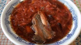 Простые блюда. Борщ с бараниной и квашеной капустой.