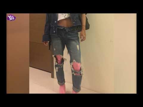 蔡依林粉长靴搭破洞牛仔裤 酷炫引领新潮流