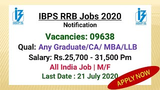 IBPS RRB 2020 Notification Out | Salary ₹ 40000 | Eligibility Criteria | Fees |Complete Exam Pattern