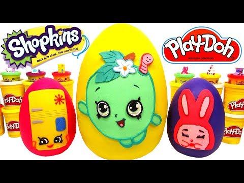 3 Ovos Surpresas Gigantes de Shopkins em Português Brasil de Massinha Play Doh