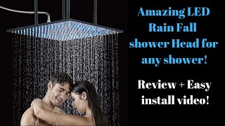 Giant Rain Fall Shower Head Review and Install for Any Shower!