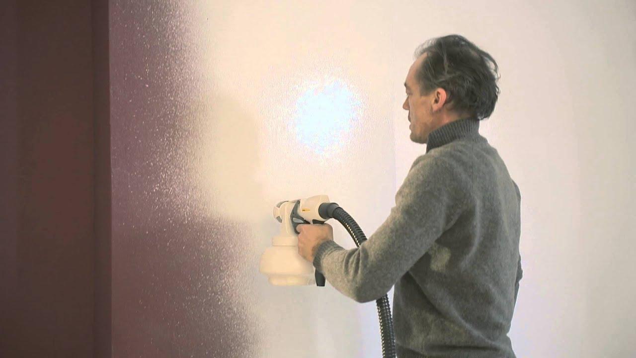 hoe schilder ik binnenmuren met een verfpistool comment peindre des murs int rieurs au. Black Bedroom Furniture Sets. Home Design Ideas