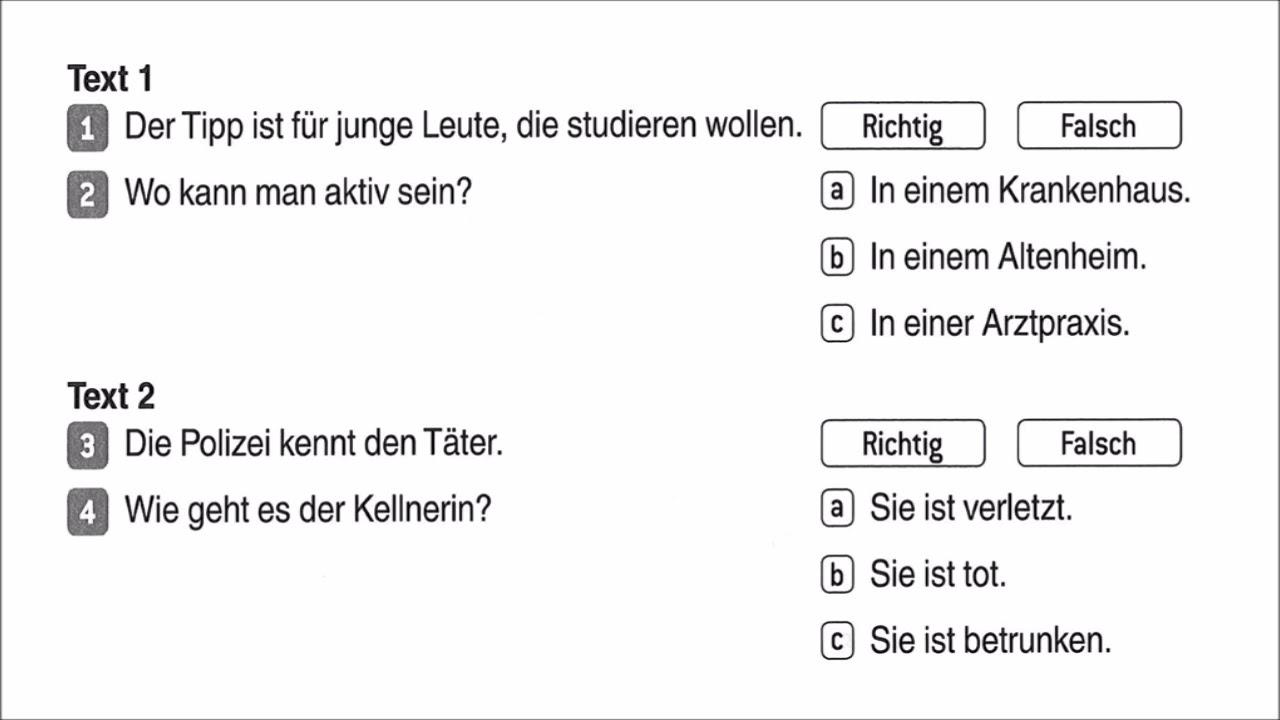Goethe ösd Zertifikat B1 Modul Hören Test 13 Teil 1 Mit Lösung