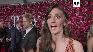 Kristen Anderson Lopez, Robert Lopez, Anthony Boyle and co host Sara Bareilles talk on red carpet of