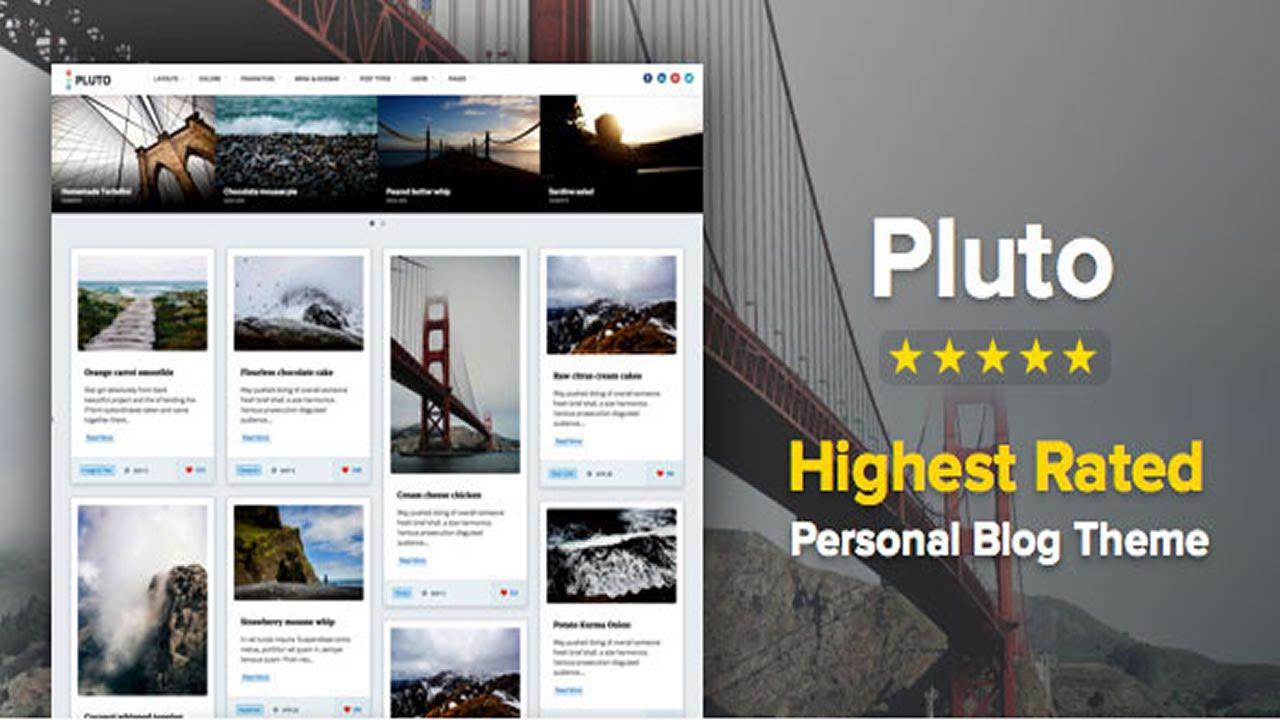 Pluto Clean Personal WordPress Masonry Blog Theme v2.1.1 - YouTube