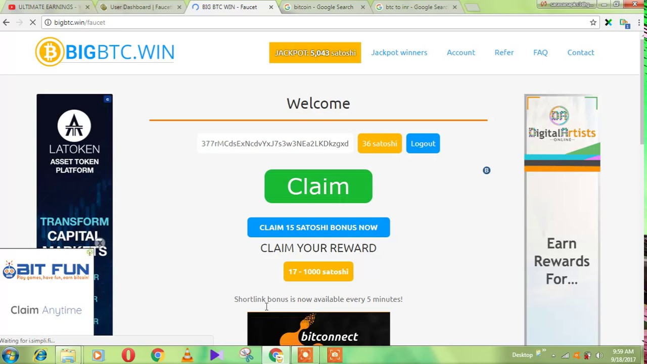 earn 20 1000 sathosi for every 5 minitues claim