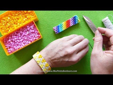 Bracelet en perles Hama tressées - Tuto et idée cadeau fête des mères