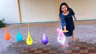 Shfa Bermain Mengisi Air Dalam Balon Daddy Finger Nursery Rhymes | Learn Colors With Balloons