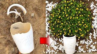Ý tưởng trồng hoa trong chậu bị vỡ | Recycle old things for gardening