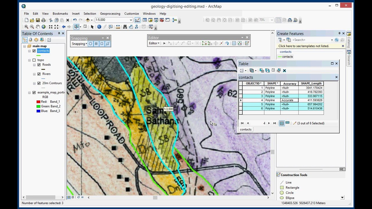 Digitising a geological map in ArcGIS Desktop | Geological