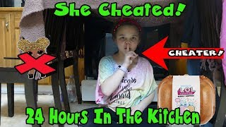 She Cheated! 24 Hours In The Kitchen With No LOL Dolls! I Made A Blanket Fort!