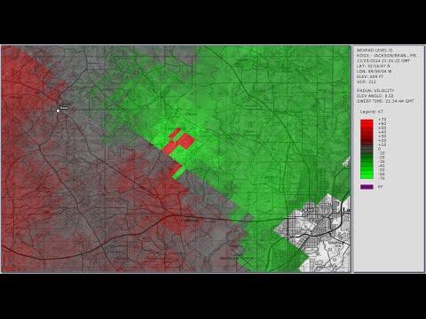 Doppler Radar - Laurel Mississippi tornado - December 23, 2014