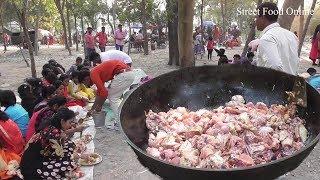 Full Chicken Biryani Preparation for 200 Students Exciting Outdoor Food Enjoyment Street Food Online
