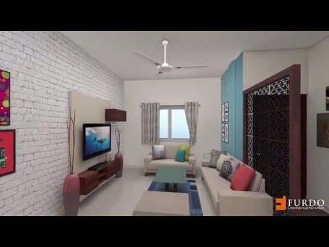 3BHK Independant Home : Furdo Interior Design 3D walk-through   Bangalore