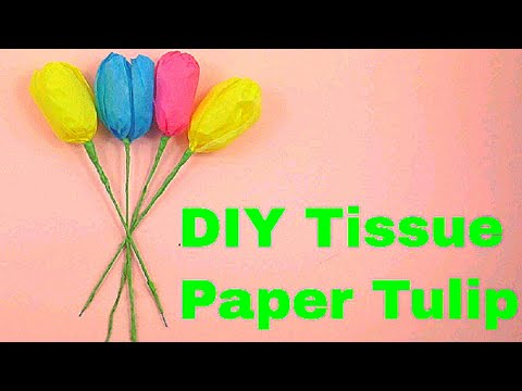 How to make tissue paper Tulip flower | Free Template of paper flowers | Easy Tulip flower 2018