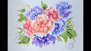 Букет цветов.   Акварель. watercolor