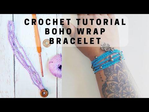 How to crochet a BOHO WRAP BRACELET – Quick jewelry tutorial for crochet beginners by RadCrochet