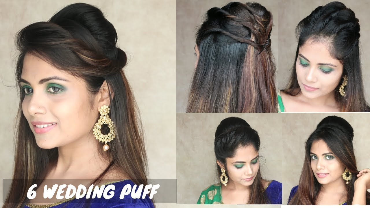 6 Puff Hairstyle For Wedding Easy Puff Hairstyle For Medium Hair Youtube