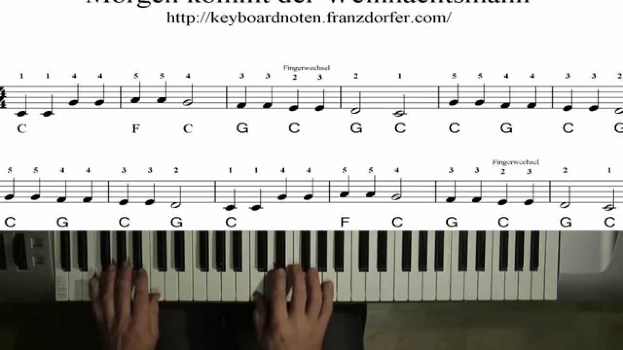 leicht WEIHNACHTEN Klavier Noten Morgen kommt der Weihnachtsmann sehr leicht