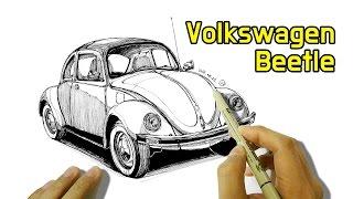 폭스바겐 비틀 그림 그리기 - draw a volkswagen beetle