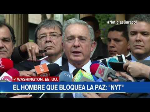 """En editorial, The New York Times llama a Uribe """"El hombre que bloquea la paz"""""""