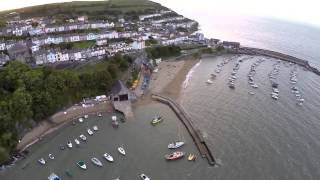 Quad-copter around New Quay Harbor, West Wales