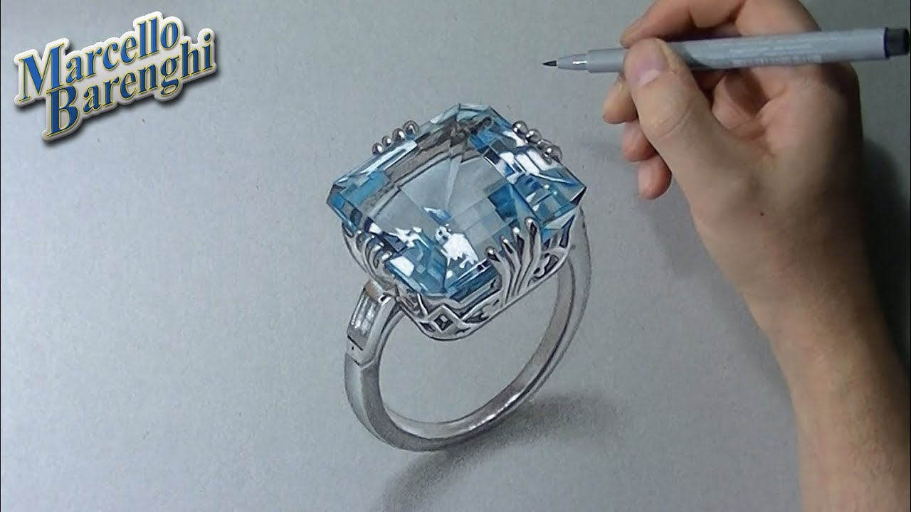How to draw a 3D aquamarine ring - YouTube