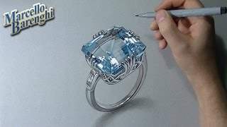 How to draw a 3D aquamarine ring