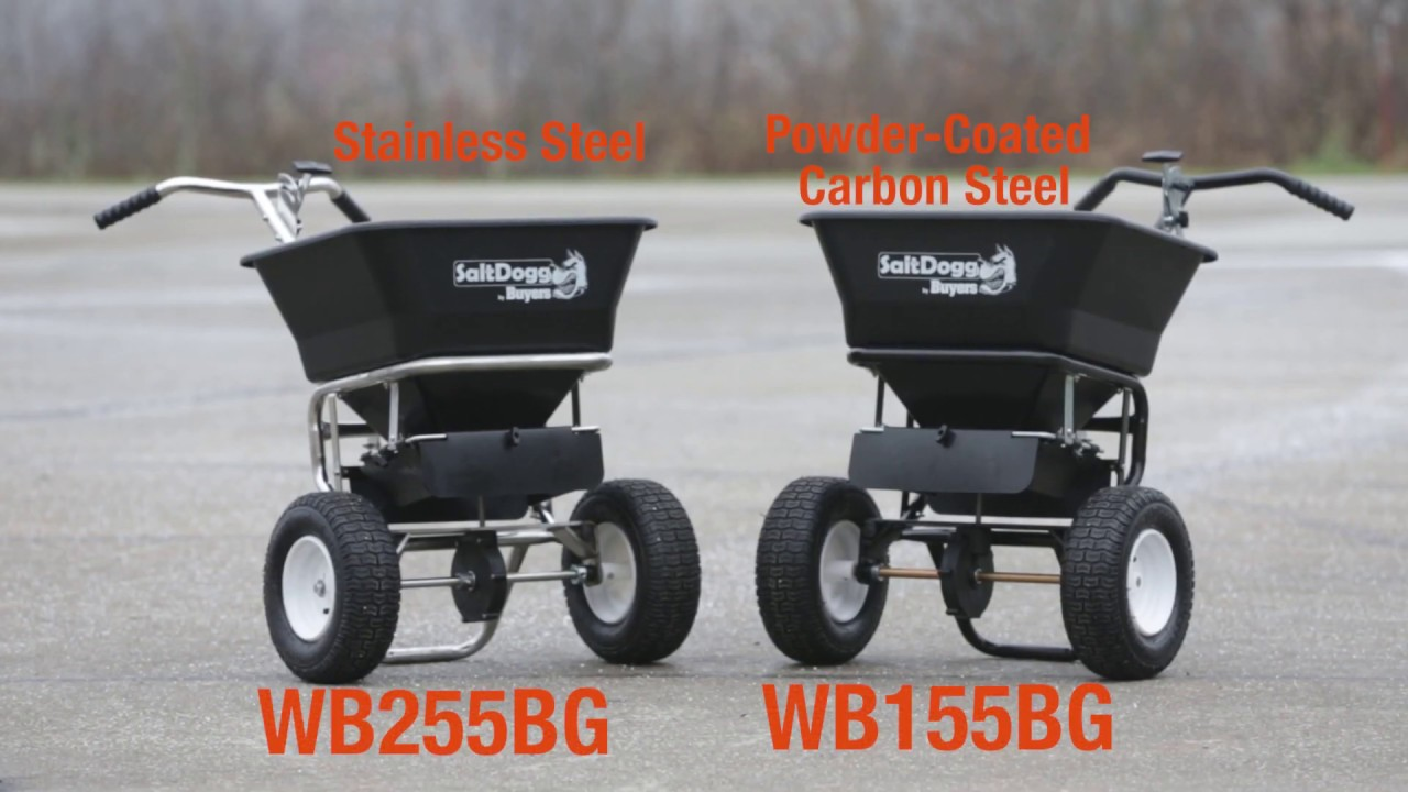 SaltDogg® Walk Behind Salt Spreaders - Great for Sidewalks, Driveways, Parking Lots