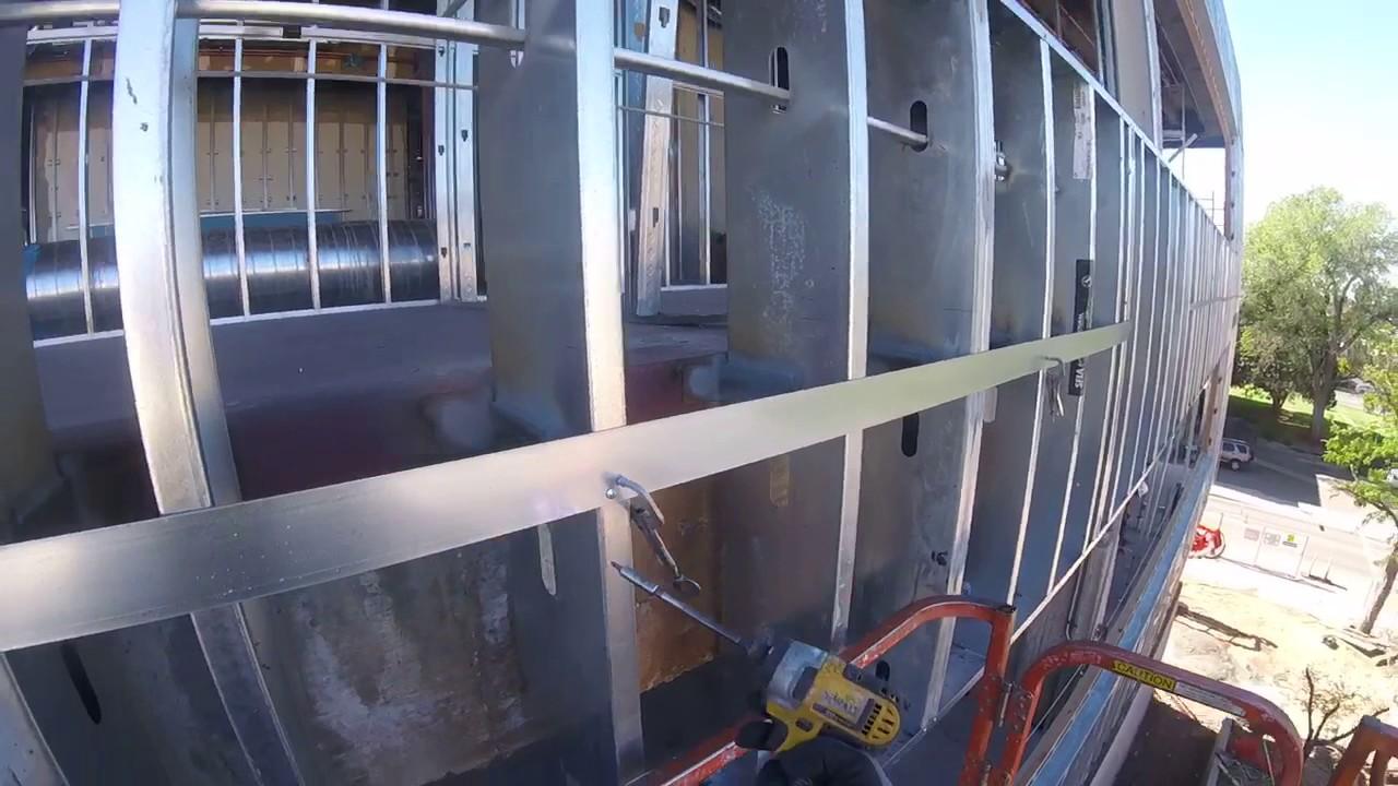 Lighting Basement Washroom Stairs: Metal Straps On Metal Studs