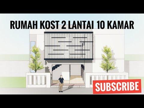 desain rumah kost 2 lantai kavling 12x6.7m - youtube