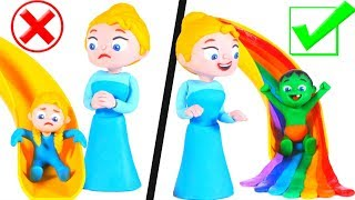 FUNNY KIDS PREFER THE COLORFULL SLIDE Play Doh Cartoons For Kids