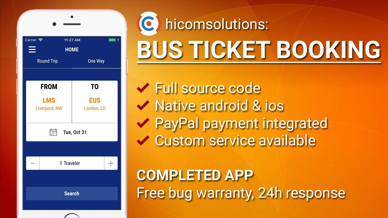 Bus ticket booking iOS app template, script, source code for sale ...