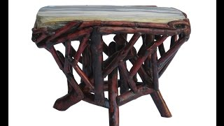 Crystal Stone Top Bamboo Wood Sticks Accent Stool Table Cs383