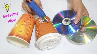 Cute and Easy Recycled Cds and Paper Cup|How To Recycle Paper Cup|Best Reuse Idea With Paper Cup