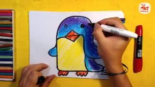 Как нарисовать ПИНГВИНА для детей / Уроки рисования для малышей