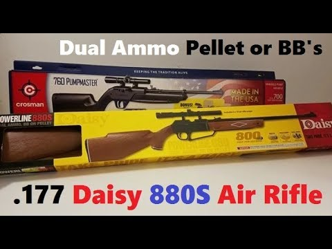 Daisy Powerline 880S Air Rifle Review (.177 Dual Ammo Airgun shoots Pellets or BB's)