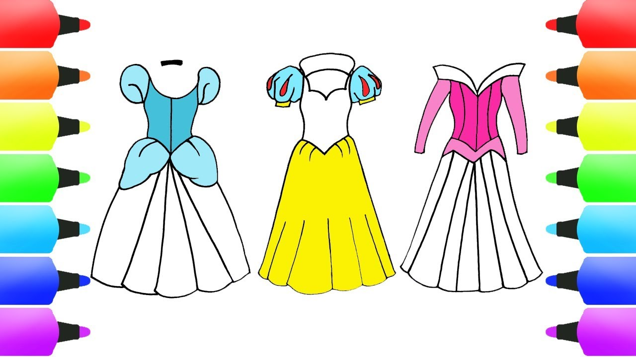 How To Draw Disney Princess Dresses Snow White Cinderella More