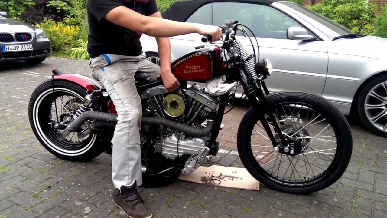 Harley Davidson 64 Early Shovel First Run after rebuild - YouTube