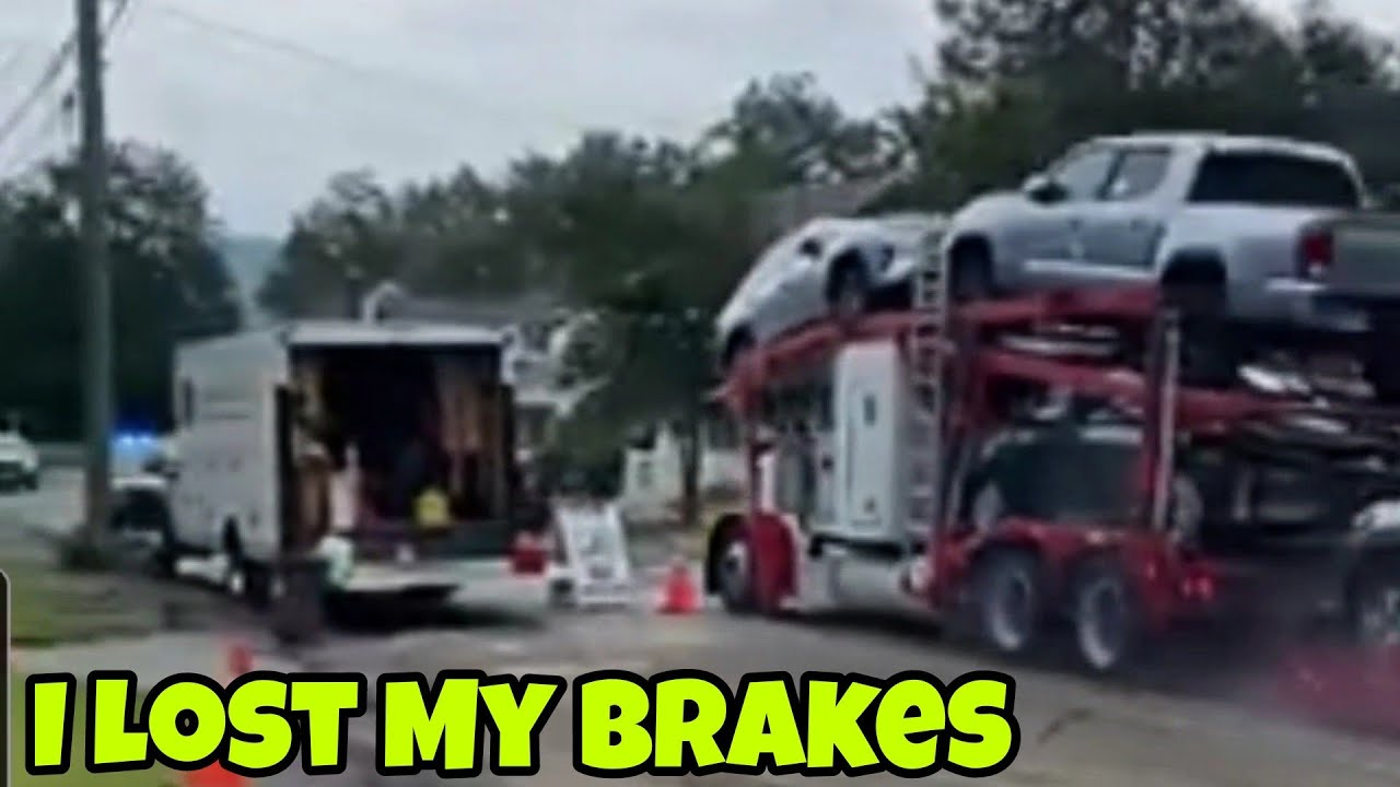 Truck Driver Loses Brakes Going 60 MPH In Residential Caught On Camera