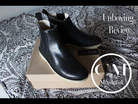 Clarks Men's Desert Peak Black Leather Boot Unboxing + Review  (on feet)