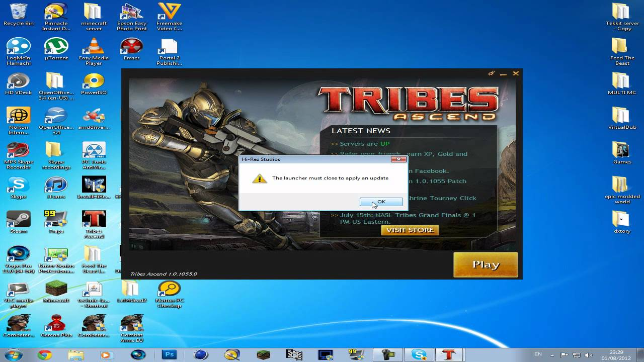 Tribes ascend: unable to attach authentication and update service